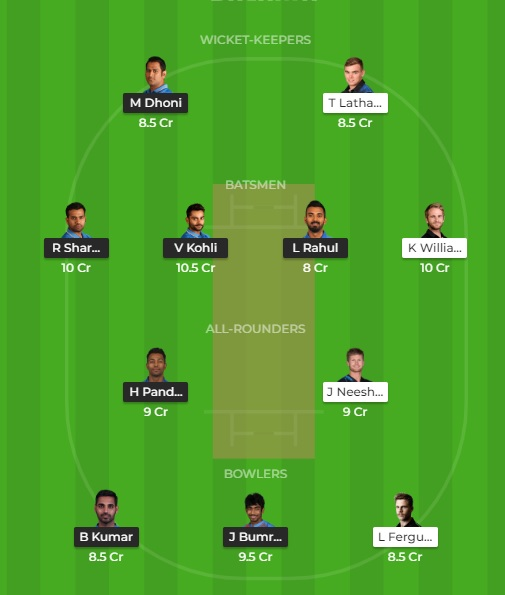 ICC World Cup 2019: India vs New Zealand Dream11 Prediction