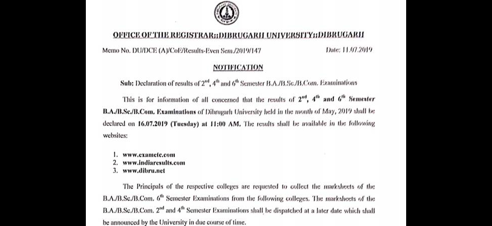 Dibrugarh University Results: 2nd, 4th and 6th Semester May
